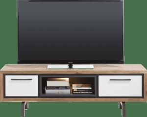meuble tv 140 cm - 1-tiroir + 1-porte rabattante + 1-niche ( +led)