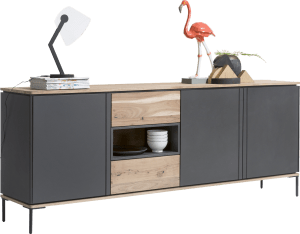 sideboard 220 cm - 3-tueren + 2-laden + 1-nische (+ led)