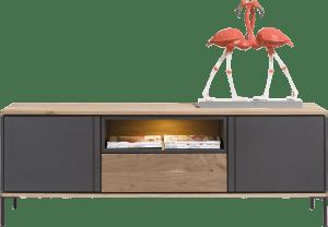 lowboard 170 cm - 2-deuren + 1-lade + 1-niche (+ led)