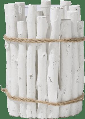 bougeoir pierre h28cm blanc ciment