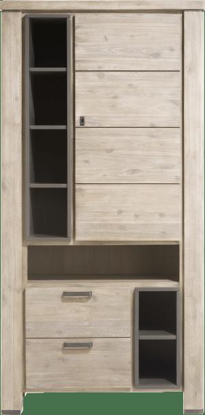 bergkast 1-deur + 2-laden + 7-niches