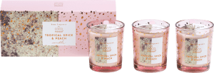 box with 3 scented candles tropical spice & peach