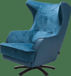 fauteuil met ster-draaivoet in rvs of zwart