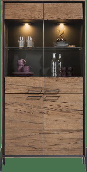 vitrine 100 cm - 2-glasdeuren + 2-deuren