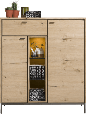 highboard 125 cm - 2-doors + 1-drawer + 3-niches (+ led)