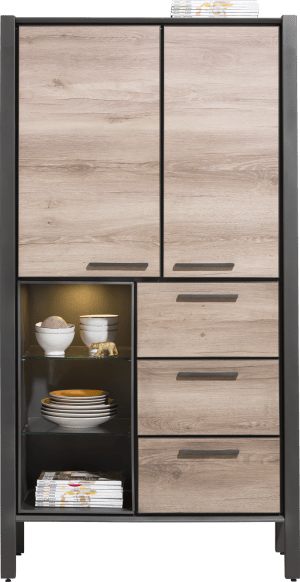 armoire 100 cm - 2-portes + 3-tiroirs + 3-niches (+ led)