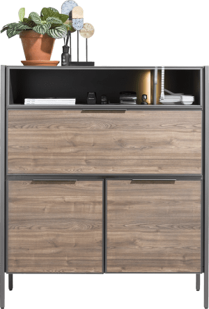 highboard 120 cm - 2-portes + 1-porte rabattante + 2-niches (+ led)