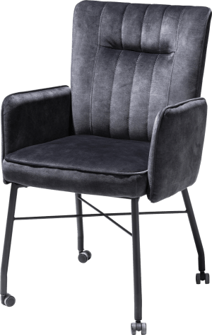 fauteuil avec roulettes + poignee + pocket - tissu karese