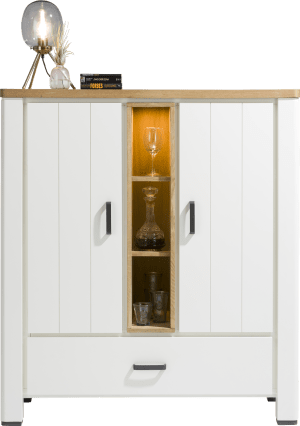 highboard 125 cm - 2-deuren + 1-lade + 3-niches (+ led)