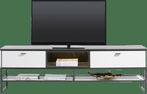 lowboard 200 cm - 1-tiroir + 1-porte rabattante + 2-niches (+ led)