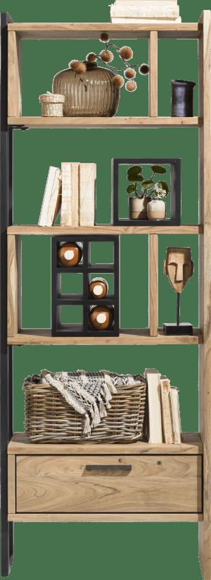 boekenkast 70 cm - 1-lade t&t + 6-niches + 6-wijnvakken + 1-box