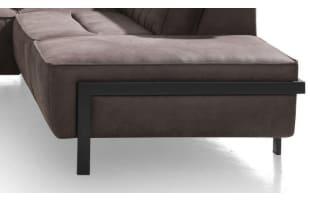 Poot Design H36 Ottomane Recht Metaal Offblack