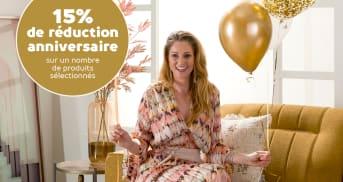 15% de réduction anniversaire sur un nombre de produits sélectionnés