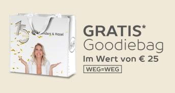 Kostenlose Goodiebag im Wert von €25