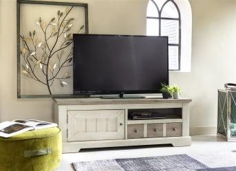 Sind Sie ein Liebhaber von rustikalen Möbeln?Dann ist dieses Lowboard aus der Le Port-Kollektion von Henders & Hazel das Richtige für Sie. Das Lowboard aus Akazienholz kombiniert die Farben French White mit Akzenten in Weathered Grey. Dies sorgt für ein warmes, rustikales Erscheinungsbild. Das TV-Möbel ist 140 cm breit, hat 1 Schublade, 1 Tür und 1 Nische.