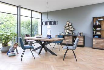 """Geniet bij het Cenon <a href=""""/xn/kasten/bergkasten/"""">highboard</a> van niet alleen de combinatie tussen het hout en de stone-look, maar ook van de ingebouwde LED-verlichting. Geeft altijd meer sfeer aan je woonkamer."""