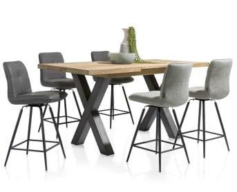 """Cette <a href=""""/hh/tables/tables-a-rallonge/"""">table télescopique</a> moderne de la collection Metalox signée HetH affiche un joli mélange de bois et de métal. Le plateau existe dans deux finitions: design épuré ou imitation écorce. Il existe trois variantes de pieds: pied en X métallique, pied en V métallique et pied en V dans un mélange de bois et de métal."""