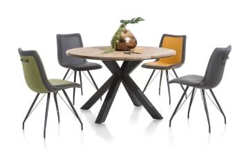 """Retrouvez cette <a href=""""/xn/chaises/chaises-de-salle-a-manger/"""">chaise de salle à manger</a> de la collection Jax. Composée d'une assise en tissu et synthétique, elle dispose d'un cadre en métal noir à la fois élégant et moderne. Confortable, cette chaise dispose d'une poignée dans le dos. Dans un séjour, un bureau ou dans tout autre pièce, ce mobilier apportera style et design à votre intérieur, que vous habitiez en maison ou en appartement. Téléchargez notre <a href=""""https://depliant.xooon.com/"""">catalogue</a> !"""