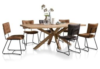 Deze tijdloze houten eetkamertafel uit de Quebec collectie van Henders & Hazel is 210 x 100 cm. De tafel is gemaakt van Kikarhout, een mooie duurzame houtsoort met een prachtige tekening en mooie structuur. De fraai vormgegeven tafelpoot zorgt voor een opvallend detail en maakt van deze eettafel een bijzondere blikvanger in het interieur.