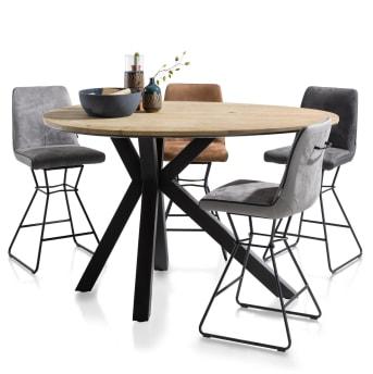 """Barstoel """"AIDEN"""" is stoer en elegant tegelijk met zijn draadframe onderstel in zwart poedercoat. De zitting van Calabria- of Tatra stof biedt bovendien alle zitcomfort die je nodig hebt."""