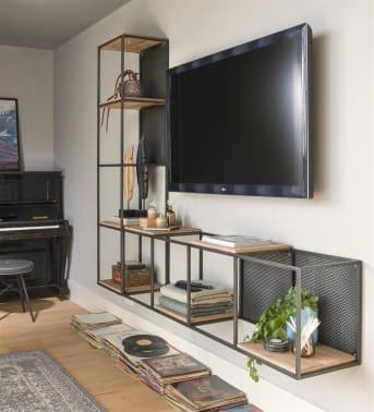 Dit gave industriële meubel Vincent is een alleskunner, nou ja bijna. Hij kan horizontaal maar ook verticaal worden gebruikt. Je kunt 'm ophangen, maar ook neerzetten. Vincent is voor van alles te gebruiken, van boekenplank tot tv-meubel. Deze Vincent is 171 cm breed of hoog, afhankelijk van hoe je hem bekijkt. Hij heeft 4 niches, 4 legplanken en 2 verplaatsbare metalen panelen. Er zijn verschillende maten van Vincent verkrijgbaar.