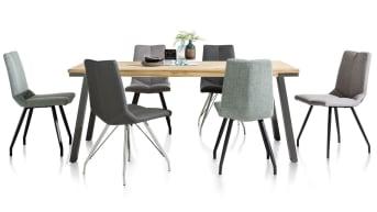 """Eetkamerstoel """"ARTELLA"""" is een moderne stoel met fijne zit en elegant onderstel. """"ARTELLA"""" is verkrijgbaar in verschillende frisse kleuren zoals grijs en mint. Dit in combinatie met het vierkante rvs swing onderstel zorgt ervoor dat """"ARTELLA"""" in zowel Scandinavische als moderne interieurs mooi staat aan de eetkamertafel."""
