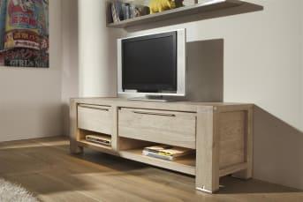 """Au quotidien, ce meuble TV Buckley saura vous apporter entière satisfaction. Diposant d'un tiroir, de 2 niches et d'une porte rabattante, ce <a href=""""/hh/meubles-de-rangement/meubles-tv/"""">meuble TV</a> avec rangement de 150 cm est également doté de LED pour vous offrir une meilleure visibilité. Pratique et tendance, ce meuble TV est idéal pour placer votre écran à la bonne hauteur. Téléchargez notre catalogue !"""