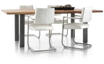 """Houdt u van een robuuste, degelijke design tafel? De <a href=""""/xn/tafels/eettafels/"""">eetkamertafel</a> Vision met een blad van 190 bij 100 centimeter zou dan wel eens de geschikte keuze kunnen zijn voor u. Een stoer vormgegeven tafel, waarbij gebruik is gemaakt van prachtige materialen zoals seesham-hout. De zijkanten van de tafel zijn golvend wat een boomstam effect geeft."""