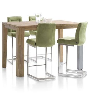Deze houten eetkamertafel is uit het A La Carte menu van Henders & Hazel. De tafel is 160 x 90 cm en gemaakt van Acaciahout. De poten zijn 9 x 9 cm. De tafel is afgewerkt in de kleur Tibet Grey, een mooie warme houtkleur die de fraaie tekening van het hout mooi tot leven brengt.