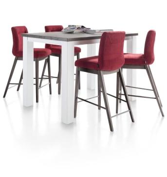 Deze moderne stoffen barstoel Malene van Henders & Hazel heeft een fraai eigentijds rvs swingframe in een ronde uitvoering. Voor de bekleding van de stoel kan er uit een groot assortiment stofsoorten en stofkleuren worden gekozen. Een aanwinst voor het eigentijdse interieur.