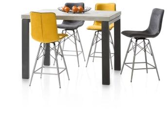 """<a href=""""/xn/stoelen/barkrukken-en-barstoelen/"""">Barstoel</a> Celine combineert het strakke design van een RVS-onderstel, met zwarte accenten, met het zitcomfort van een zachte, beklede zitting met rugleuning. Voor het zitgedeelte kunt u kiezen uit vele tientallen soorten bekleding, zowel in stof als in leer. De Celine barstoel is 180 graden draaibaar!"""